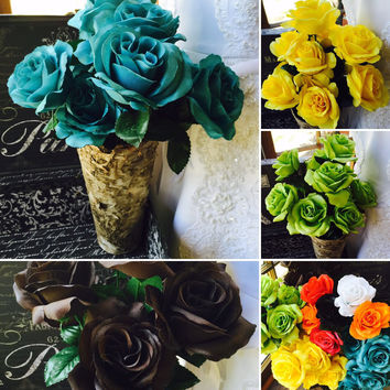 Single Silk Rose Sample 25 Colors Available, Rose Wedding Bouquet, Malibu Blue Rose, Ivory Rose, Orange Rose, Yellow Rose, Royal Blue Rose