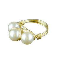 Bourbon and Boweties Triple Pearl Ring
