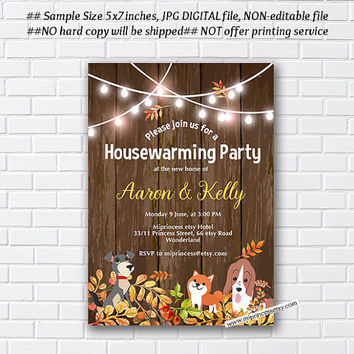 Rustic Fall, autumn , Fall housewarming party invitation, New house with dog pawty,  home sweet home, housewarming - card 1039