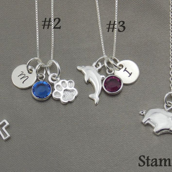 Sterling Silver Jewelry For Little Girls, Sterling Silver Jewlery Kids inspirational jewelry Monogram Necklace Disc Jewelry For Little Girls