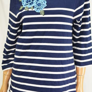 Charter Club Women Cotton Blue Striped Embroidered Blouse Top Large L