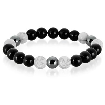 Crucible Men's Howlite, Onyx and Hematite Polished Natural Healing Stone Bead Stretch Bracelet - 8.5 inches (10mm Wide) | Overstock.com Shopping - The Best Deals on Men's Bracelets