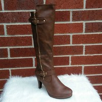 Women's Brown Tall Boots with Zipper and Buckle Details