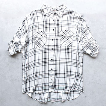 womens ex-boyfriend flannel shirt - black + white plaid