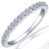 Pave Set Diamond Wedding Anniversary Band 10k White Gold (0.32 Cttw, I Color I Clarity)