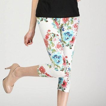 PEAPON lady short slim leggings floral daisy flower pencil capris fitted short legging women summer knee length trousers