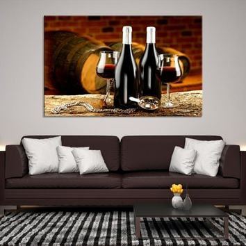 63214 - Wine Bottle Wall Art | Wine Glass Canvas Art | Wine Barrel Print Art | Wine Glass Poster | Framed Wine Canvas | Large Wine Printing