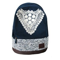 Cute Canvas Backpack with Lace