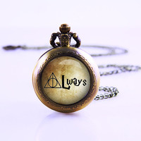 Harry potter Vintage Watch Necklace , Always , Deathly Hallows Necklace , Vintage Deathly Hallow ,Pocket Watch gift