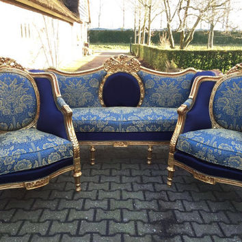 French Blue Settee Antique French Louis XVI 3 Piece Beregere Chair Fauteuil Wingback Sofa Gold Leaf Gild ReUpholster New Fabric Blue Damask