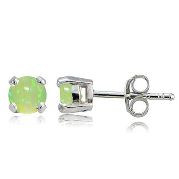 Sterling Silver Created Green Opal 4mm Round Stud Earrings