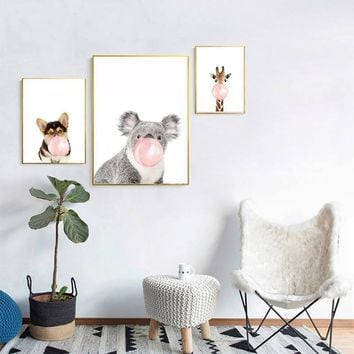 Cartoon Animals Wall Art Decor Watercolor Canvas Painting No Frame Cartoon Painting Posters for Baby Livingroom Coffee Shop