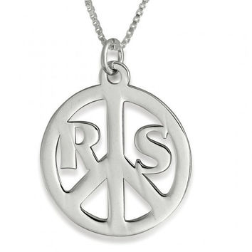 peace Sign Pendant Peace necklace Silver Peace Sign peace silver Peace Chain chain peace Initial Peace necklace peace hippie peace name