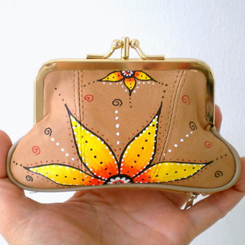 Leather  Framed Purse,  Hand Painted   Lotus Flower - Beige Nude Wallet