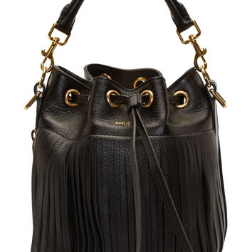 Saint Laurent Black Fringed Emmanuelle Small Bucket Bag