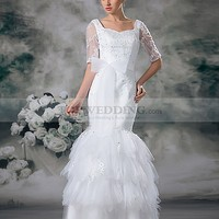 Half Sleeves Satin Mermaid Gown with Bow Sash and Applique