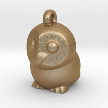 Matte Gold Owl Pendant Owl Charm  Animal jewellery
