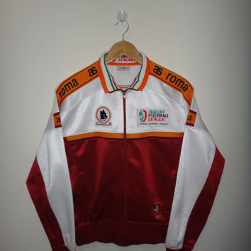 Vintage 1993 KAPPA AS Roma (Italy) track jacket trainer Series A Warm Up MEDIUM Italian Football League Lega Italiana Calcio