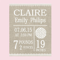 Personalized Birth Stats with Neutral Linen Background Art Print CUSTOMIZE YOUR COLORS 8x10 Prints Nursery Wall Decor Baby Room Decor Kids