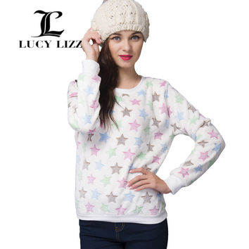 Lucy Lizz Women Clothes Full Sleeve O-Neck Character Plush Thicken Flannel Winter Casual Pullover Sweatshirts CG311