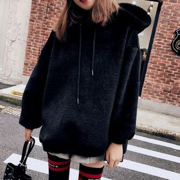 DCCK8H2 Fashion Long Sleeve Hooded Thick Medium-long Side Zipper Sweater