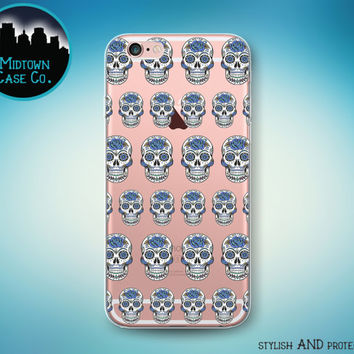 Sugar Skull Flowers Pattern Dia de Los Muertos Transparent Clear Rubber Case for iPhone 7 Plus 7 iPhone 6s 6 Plus iPhone SE iPhone 5s 5 5c
