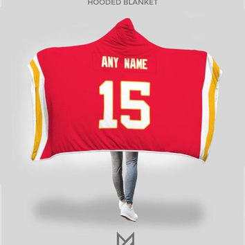 Kansas City Chiefs Hooded Blanket - Personalized Any Name & Any Number
