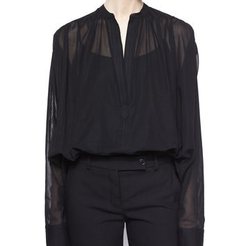Poet Sheer Long-Sleeve Blouse, Size: