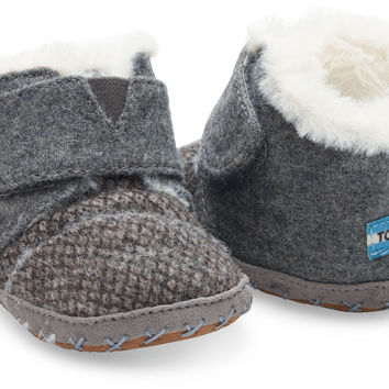 GREY FELT TWEED TINY TOMS CUNA CRIB SHOES