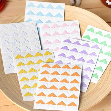 72 pcs lot DIY Cute Pure Candy Color Corner kraft Paper Stickers for Photo Albums Frame Decoration Scrapbooking