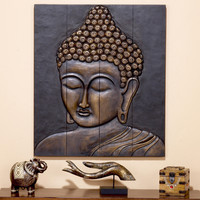 Buddha Face Wall Hanging, Wood