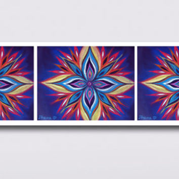 Blue Colorful Mandala Art Print, 3 Piece Large Prints, Vibrant color Art, High quality Prints, Wall and Home decor