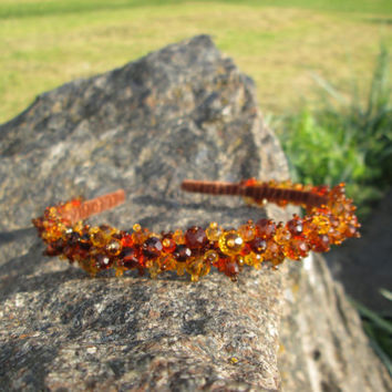 Gold crown Woodland girl Gold wedding crown Crystal headpiece Brown and orange Rustic hair Gold crown headpiece Woodland hair wreath Autumn