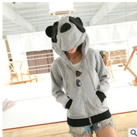 Fashion Women's Panda Hoodie Outerwear Jacket Sweatshirt = 1932078020