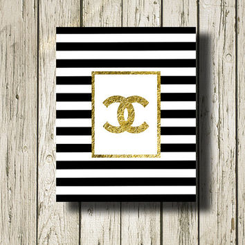Chanel Gold Print Black and White Stripe Printable Instant Download Gold Black White Digital Art Print Wall Art Home Decor G123bws