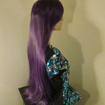 Short Sale- Purple Wig/Straight Grape Purple/Cosplay Wig/Anime Wig/High School of the Dead/Party/Scene Wig/Rave/Punk/Ships From Florida USA