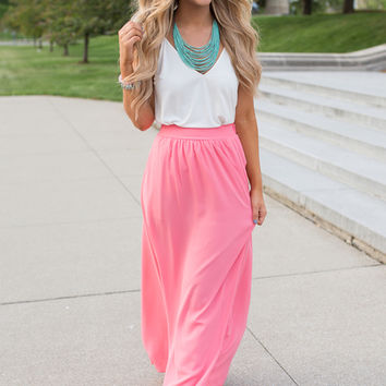 Side Pocket Maxi Skirt - Salmon Rose - FINAL SALE
