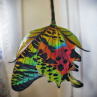 Emerging Sunset Moth silk hanging lamp with color changing LED