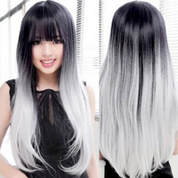 Women Unique Long Wig Straight Hair Black and Gray Gradient Synthetic Nylon Hair Wigs #L04713