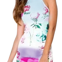 Light Blue Floral Print Halter Neck Cami Dress
