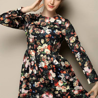 Floral Long Sleeve High Waist Pleated A-Line Mini Dress