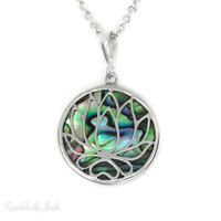 Sterling Silver Abalone Shell Openwork Lotus Pendant Necklace