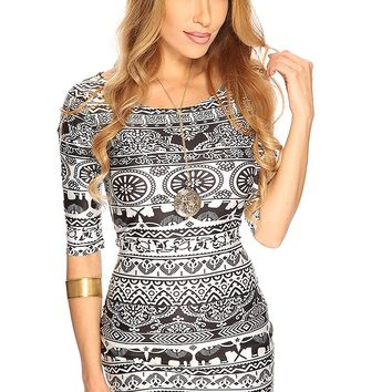 White Black Elephant Tribal Print Short Sexy Bodycon Dress