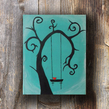 Tree Silhouette Art for Bedroom - Tree Swing Abstract Painting - Acrylic Tree - Acrylic Painting