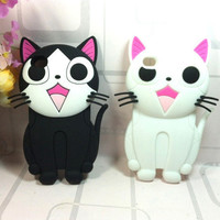 New 3D Cute Cat Silicone Soft cover Case Skin for iPhone 4 4S 4G 5Colors