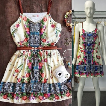 2015 New Print Vintage Women Dress Mini Ethnic Style V-Neck Casual Summer Dresses Strap A-Line Ladies Dress Plus Size = 1667554692