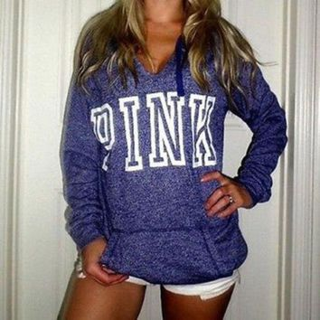 DCCKI2G PINK' Victoria's Secret Casual Letter Print Hoodie Sweatshirt Top Sweater
