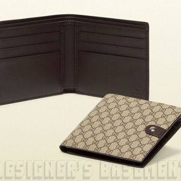 One-nice™ GUCCI Mens brown Micro GG SUPREME Canvas Leather TAB bifold wallet NIB Authentic
