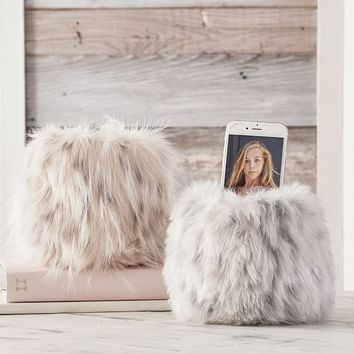Faux-Fur Beanbag Phone Holder