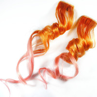 Tangerine Berry / Human Hair Extension / Orange Pink / Long Tie Dye Colored Hair